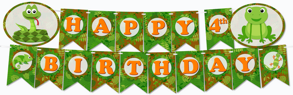 Reptile Birthday Party Banners - Instant Download PDF Printable File