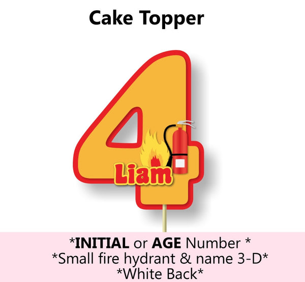 Fireman Birthday Party Cake Topper