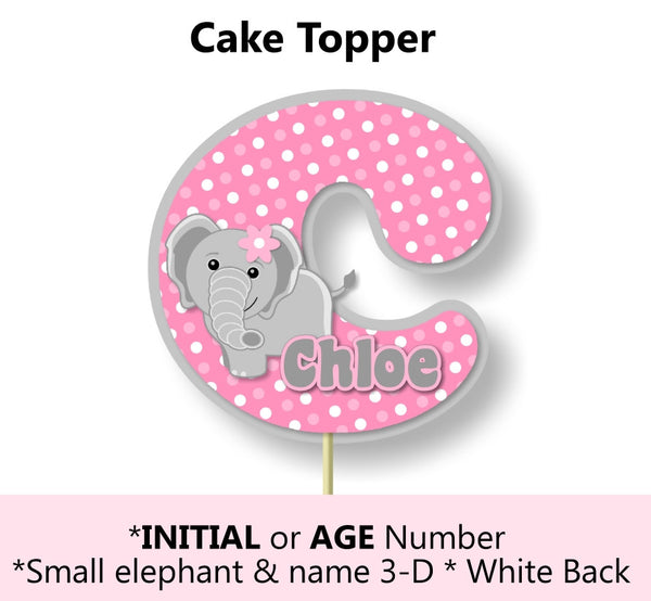Pink Elephant Baby Shower or Birthday Party Cake Topper