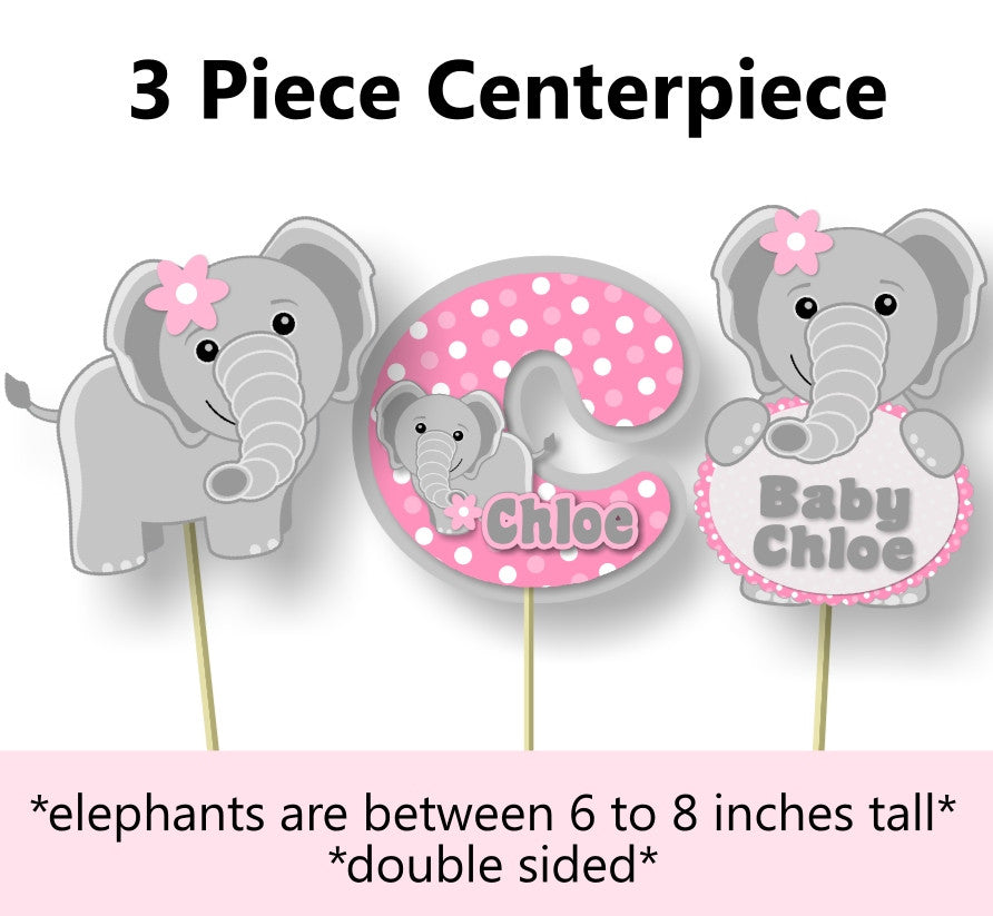 Pink Elephant Baby Shower Or Birthday Party Centerpiece