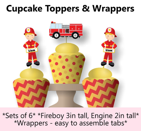 Fireman Birthday Party Cupcake Toppers and Wraps