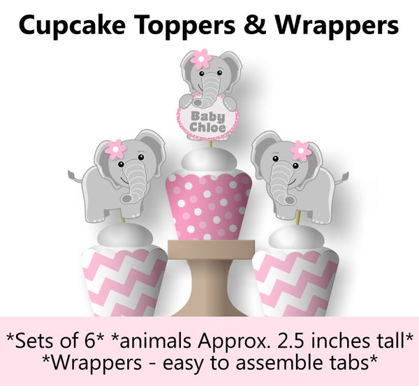 Pink Elephant Baby Shower or Birthday Cupcake Toppers