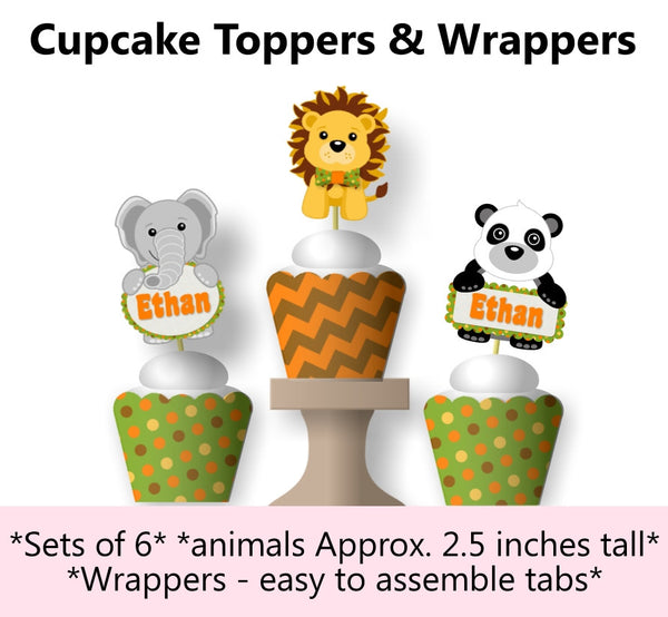 Jungle Safari Birthday Party or Baby Shower Cupcake Toppers & Wraps
