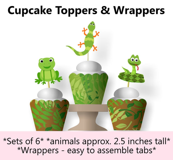 Reptile Birthday Party Cupcake Toppers and Wraps