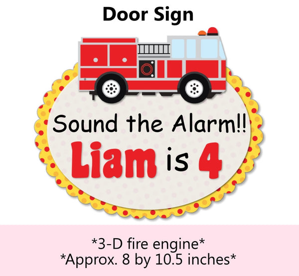 Firefighter Birthday Party Door Sign