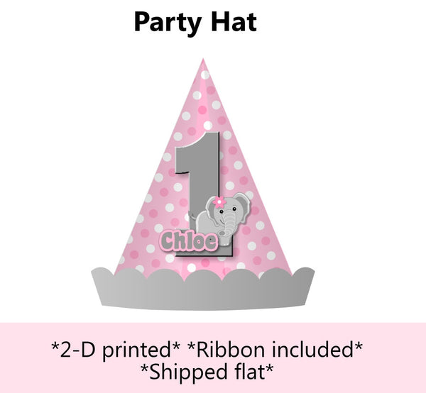Pink Elephant Baby Shower or Birthday Party Hat