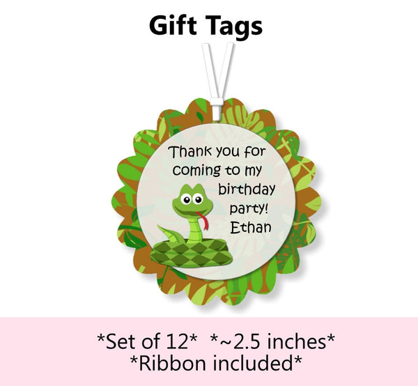 Reptile Birthday Party Favor Tags