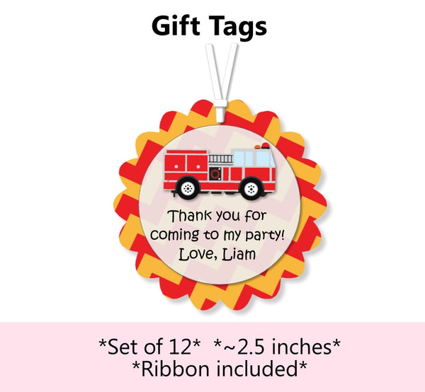 Fire Truck Birthday Party Favor Tags