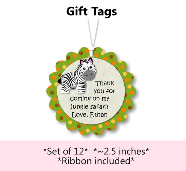 Jungle Safari Birthday Party or Baby Shower Favor Tags
