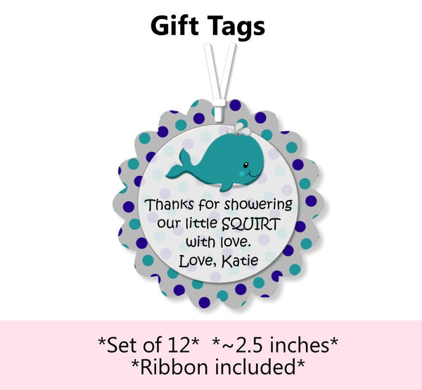 Whale Baby Shower & Birthday Party Favors Tags