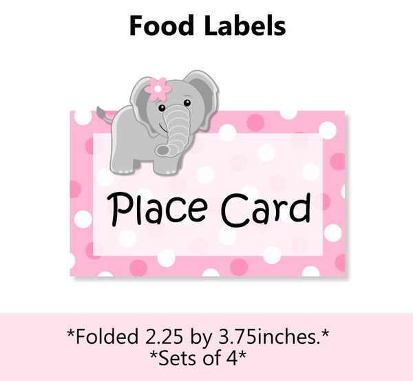 Pink Elephant Baby Shower or Birthday Place Card or Food Label