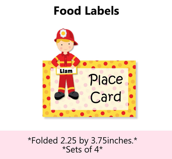Firefighter Birthday Place Cards or Food Labels