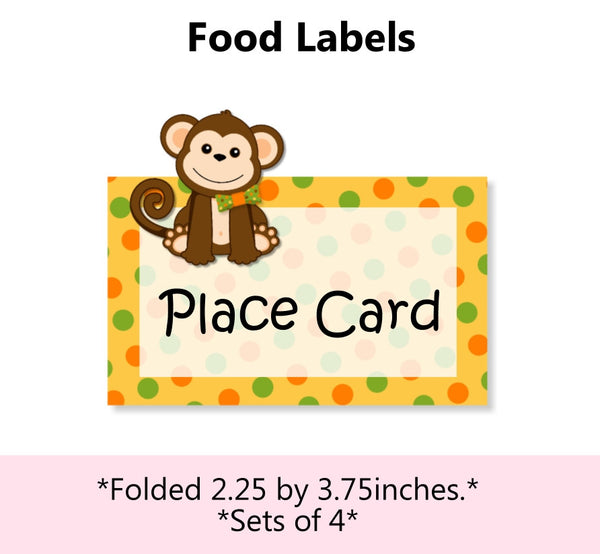 Jungle Safari Birthday Party Place Cards or Food Labels