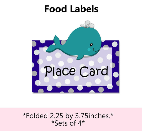 Whale Baby Shower & Birthday Place Cards & Food Labels