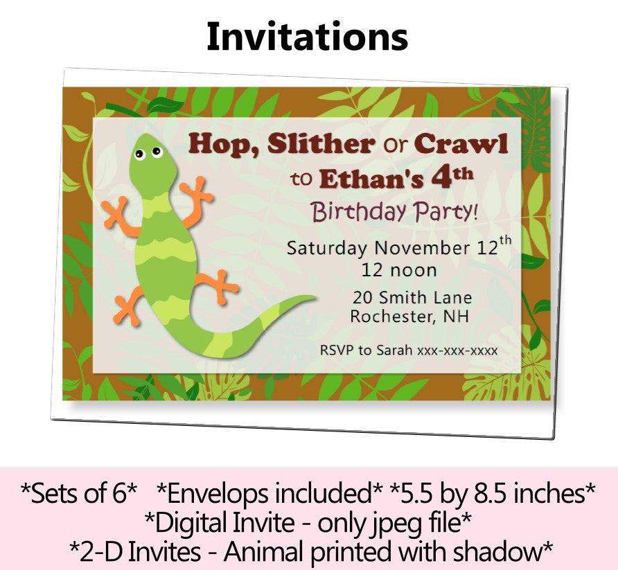 Reptile Amphibian Birthday Party or Baby Shower Decorations – Reptile Invitations Birthday
