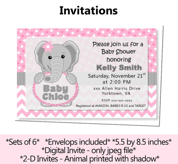 Pink Elephant Baby Shower or Birthday Invitation Invite