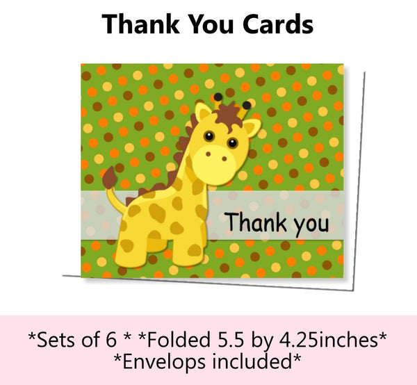 Jungle Safari Birthday Party or Baby Shower Thank You Cards