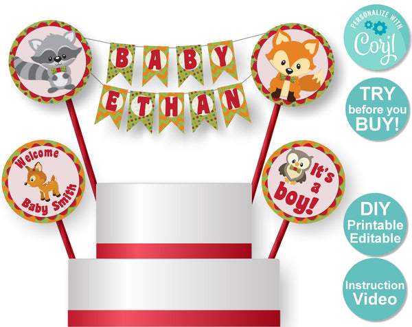 Woodland Baby Shower or Birthday Cake Topper - DIY Printable Decorations - MADEtoMATCH - Banner, Invitation