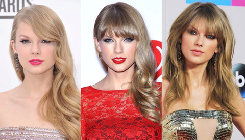 Taylor Swift Hairstyles with Bangs | FoxyBae