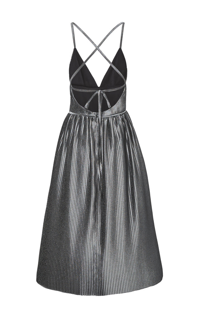 Pleated Lamé Organza Dress