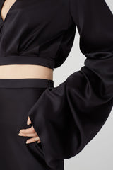 Cropped Blouse with Exaggerated Sleeves