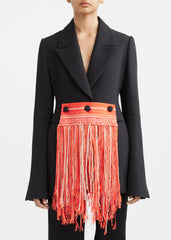 Basque Blazer with Fringe Accessory