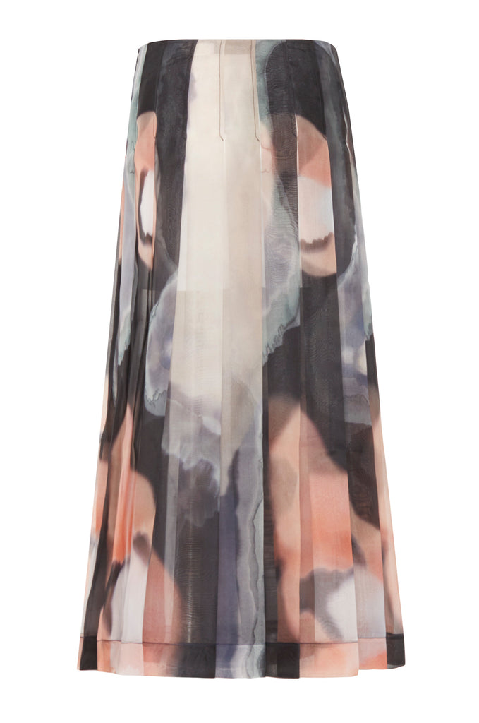 Ghost Print Pleated Wrap Skirt