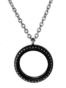 30mm Black Acrylic Screw Top Floating Charm Locket Necklace