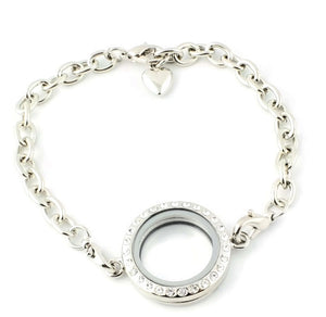 25mm CZ Round Floating Charm Locket Bracelet