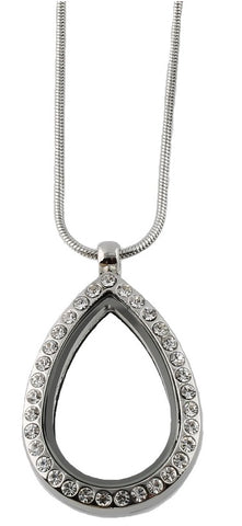 Crystal Teardrop Floating Charm Locket Necklace