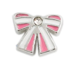 Striped Bow Floating Charm
