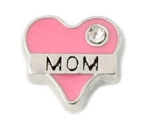 Pink Mom Heart Floating Charm