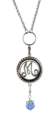 "Initial And Birthstone Floating Charm Locket With 20"" Rolo Chain"