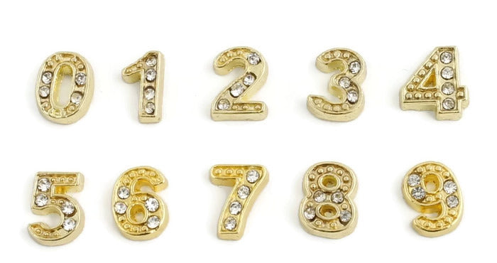 Gold Numbers Floating Charm