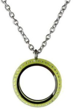 30mm Lime Green Acrylic Screw Top Floating Charm Locket Necklace