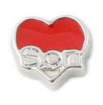 Son Red Heart Floating Charm
