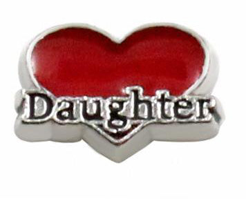Red Heart Daughter Floating Charm