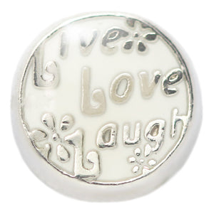 White Live Love Laugh Floating Charm