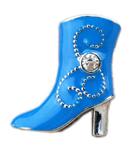 Blue Cowboy Boot Floating Charm