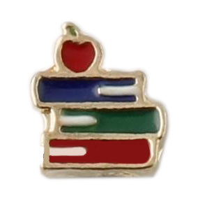 Gold Stack Of Books Floating Charm
