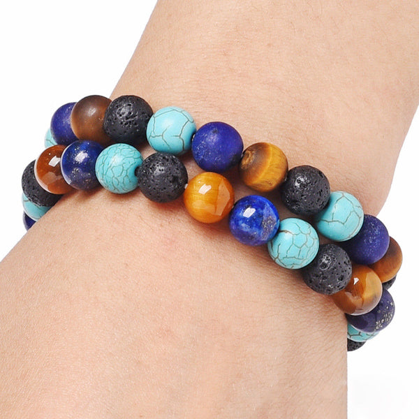 Essential Oil Diffuser Bracelet With Turquoise, Wood & Lava Beads