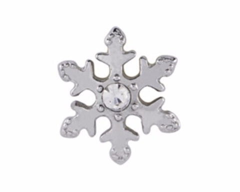 Silver CZ Snowflake Floating Charm