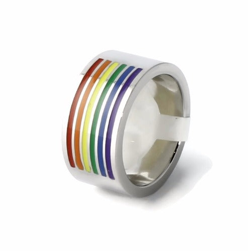 Gay Pride Stainless Steel Wedding Band