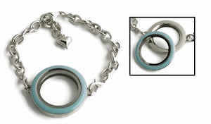 30MM Blue Enamel Floating Charm Locket Bracelet