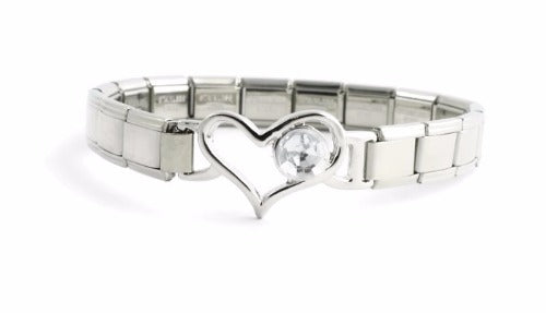 April 9mm Italian Charm Bracelet With Birthstone Heart Enhancer