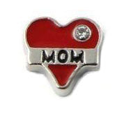 Mom Red Heart Floating Charm
