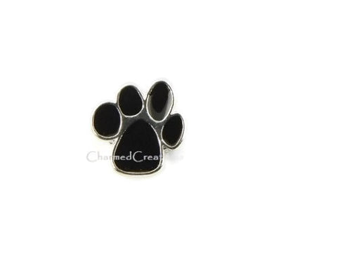 Black Paw Print Floating Charm