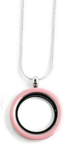 30MM Pink Enamel Floating Charm Locket Necklace