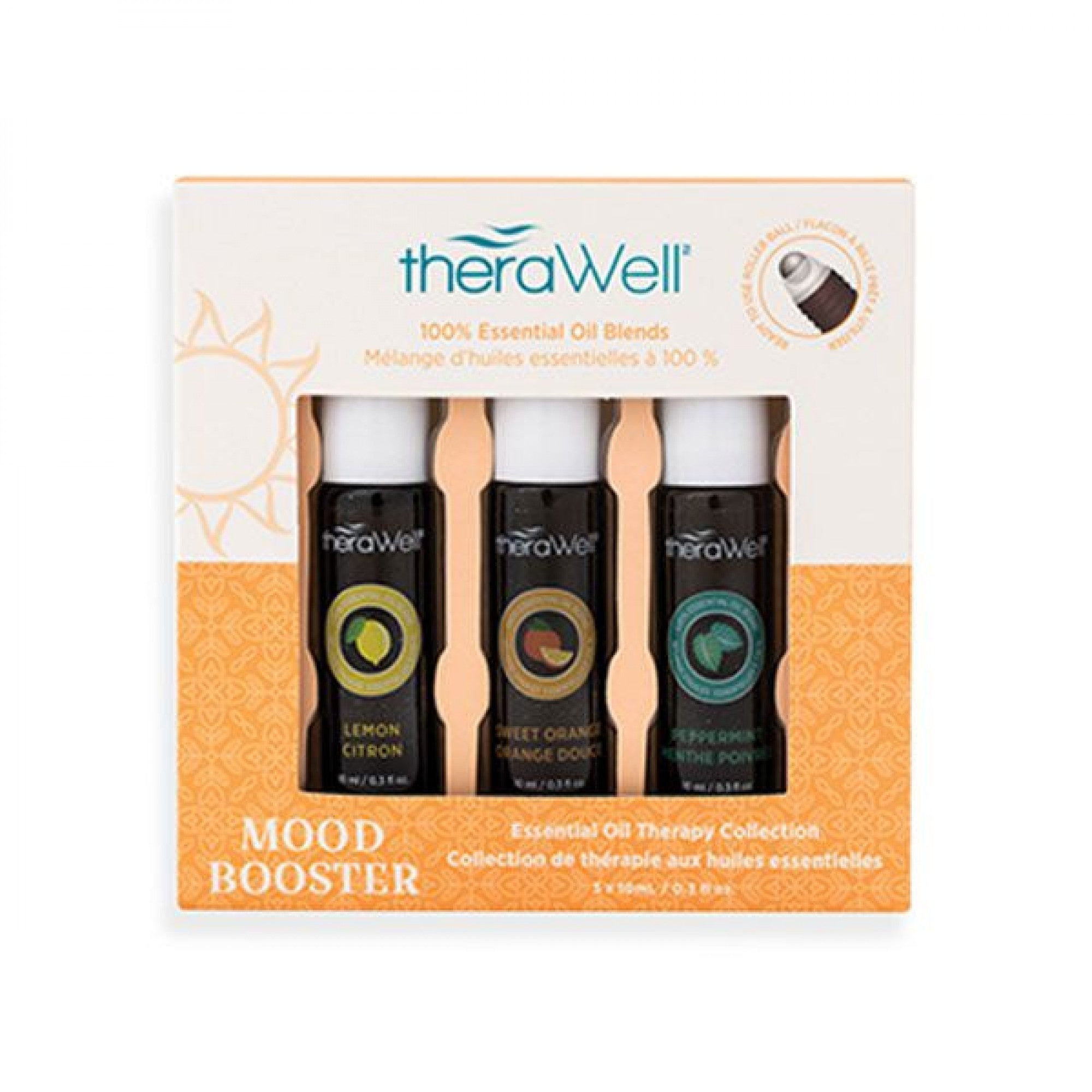 Thera Well 3-Pack Essential Oil Rollerball Set - Mood Booster