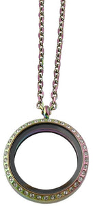 30mm Stainless Steel Round Floating Charm Locket Necklace With Rainbow Finish